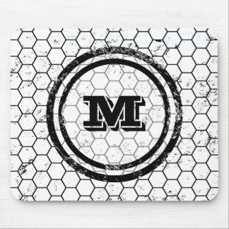 Black and white Honeycomb Monogram Geometric Mouse Pad