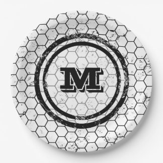 Black and white Honeycomb Monogram Pattern 9 Inch Paper Plate