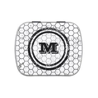 Black and white Honeycomb Monogram Pattern Candy Tin