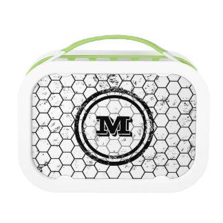 Black and white Honeycomb Monogram Pattern Lunch Box