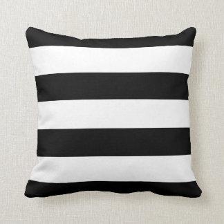 Black and White Horizontal Stripes Cushion