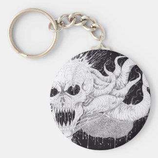 Black And White Horror Skull Art Basic Round Button Key Ring