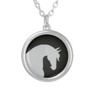 Black and White Horse Head Sillhouette Necklace