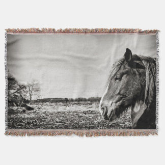 Black and White Horse Head Throw Blanket