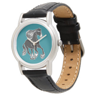 Black and White Horse Teal Wristwatch