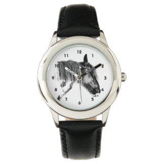Black and white horse wrist watch