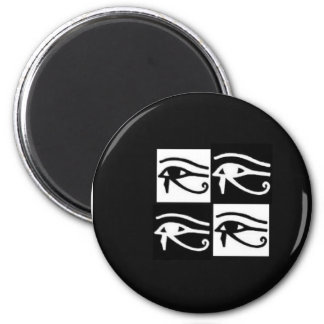 black and white Horus eyes 6 Cm Round Magnet