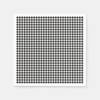 Black and White Houndstooth Holiday Paper Napkins