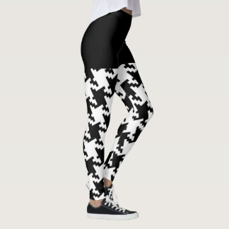 Black and White Houndstooth Motif Decor on Leggings