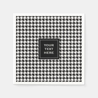 Black and White Houndstooth Pattern Disposable Napkins