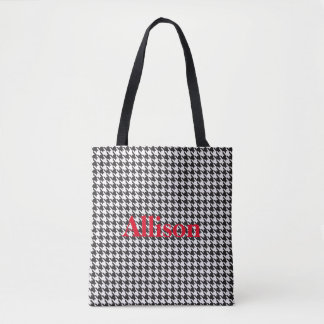 Black and White Houndstooth Pattern Personalized Tote Bag