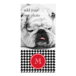 Black and White Houndstooth Red Monogram Photo Cards