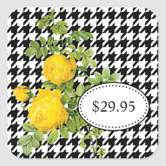 Black and White Houndstooth Yellow Rose Price Tags Square Sticker
