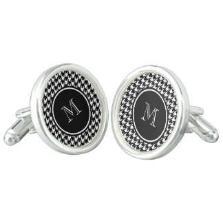 Black and White Houndstooth Your Monogram Cuff Links