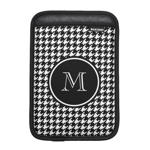 Black and White Houndstooth Your Monogram iPad Mini Sleeves