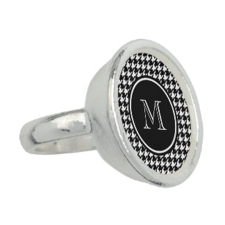 Black and White Houndstooth Your Monogram Ring