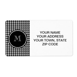 Black and White Houndstooth Your Monogram Shipping Label
