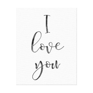 Black and White I Love You Canvas Print