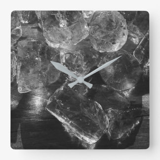 Black and White Ice Creative Photography Square Wall Clock