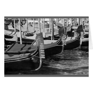 Black and white image of gondolas in Venice, Italy Card