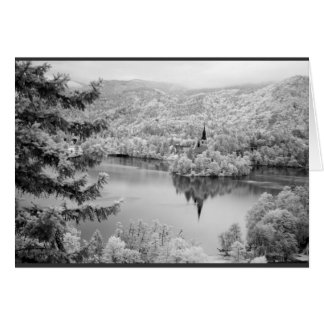 Black and white image of Lake Bled, Slovenia Card