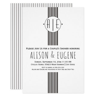 Black and white initials wedding couples shower card