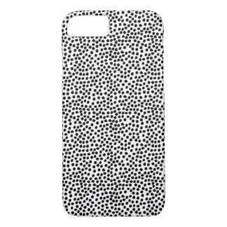 Black and White Ink Dots Pattern iPhone 7 Case