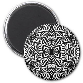Black and White Ink Fractal Flowers 6 Cm Round Magnet