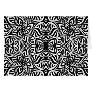 Black and White Ink Fractal Flowers Card