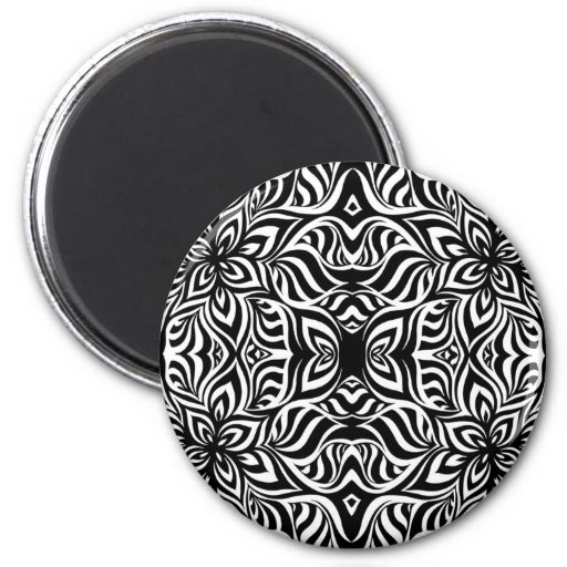 Black and White Ink Fractal Flowers Refrigerator Magnets