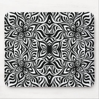 Black and White Ink Fractal Flowers Mouse Pad