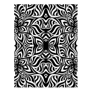 Black and White Ink Fractal Flowers Post Card