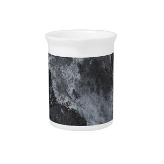 Black and White Ink on Black Pitcher