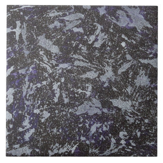 Black and White Ink on Purple Background Ceramic Tile