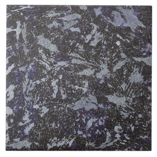 Black and White Ink on Purple Background Large Square Tile