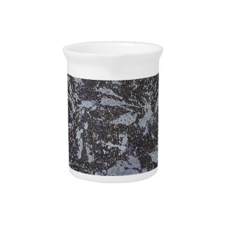 Black and White Ink on Purple Background Pitcher