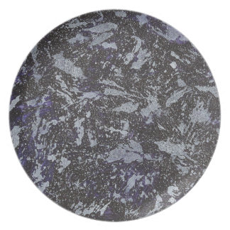 Black and White Ink on Purple Background Plate