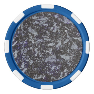 Black and White Ink on Purple Background Poker Chips