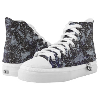 Black and White Ink on Purple Background Printed Shoes