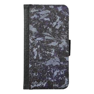 Black and White Ink on Purple Background Samsung Galaxy S6 Wallet Case