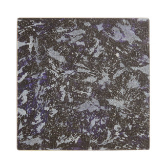 Black and White Ink on Purple Background Wood Coaster