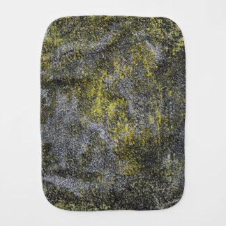 Black and White Ink on Yellow Background Burp Cloth
