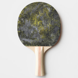 Black and White Ink on Yellow Background Ping Pong Paddle