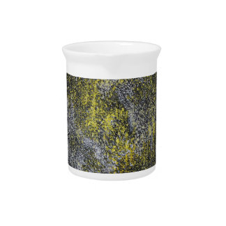 Black and White Ink on Yellow Background Pitcher