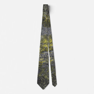 Black and White Ink on Yellow Background Tie
