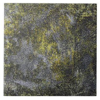 Black and White Ink on Yellow Background Tile