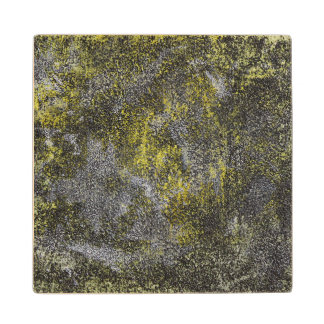 Black and White Ink on Yellow Background Wood Coaster