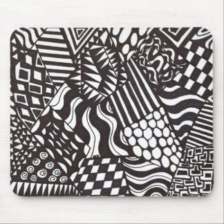 Black and white Ink print Mouse pad