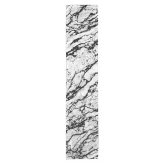 Black and White Intricate Marble Stone Pattern Short Table Runner