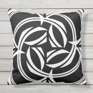 Black and White Iris Tribal Outdoor Cushion